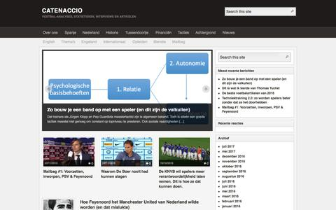 Screenshot of Home Page catenaccio.nl - CATENACCIO – Voetbal-analyses, statistieken, interviews en artikelen - captured Sept. 25, 2018