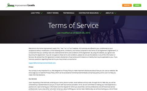 Screenshot of Terms Page homeimprovementleads.com - Home Improvement Leads | Turning Leads Into Customers - captured July 24, 2015