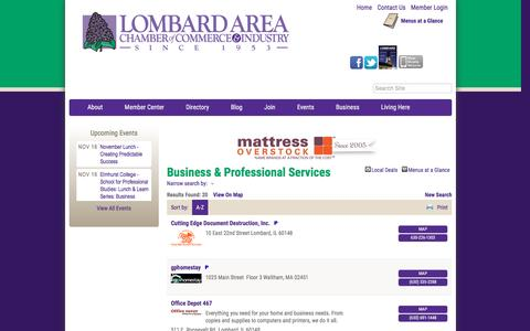 Screenshot of Services Page lombardchamber.com - Business & Professional Services - PublicLayout - Lombard Area Chamber of Commerce and Industry, IL - captured Nov. 13, 2016