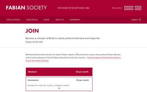 Screenshot of Signup Page fabians.org.uk - Join   Fabian Society - captured Oct. 10, 2018