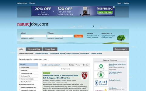 Screenshot of Jobs Page nature.com - Search results : Naturejobs - captured June 9, 2016