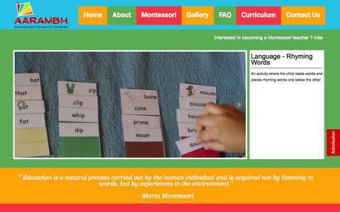 Screenshot of Home Page aarambhmontessori.in - Aarambh Montessori - captured Jan. 27, 2015