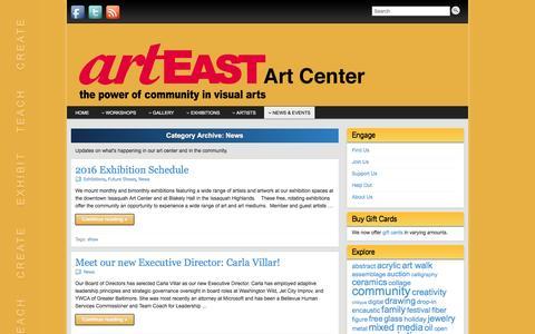 Screenshot of Press Page arteast.org - News - captured Feb. 7, 2016