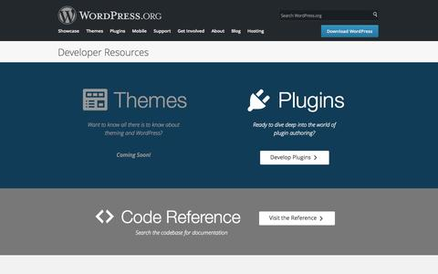 Screenshot of Developers Page wordpress.org - WordPress � WordPress Developer Resources - captured Nov. 11, 2015