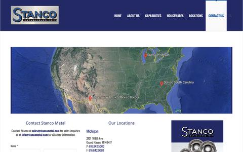 Screenshot of Contact Page stancometal.com - Contact Stanco Metal   Metal Stamping & Fabricating Solutions - captured Feb. 26, 2016