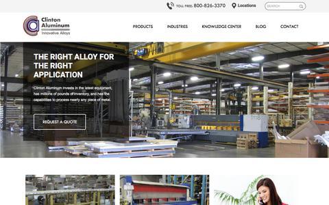 Screenshot of Home Page clintonaluminum.com - Aluminum & Stainless Steel Distributor - Plate, Sheet, Bar & Mold Alloys - captured July 19, 2018