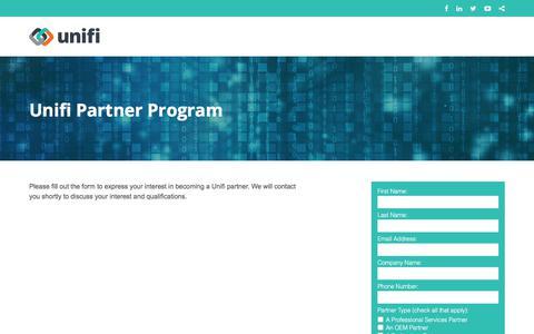 Screenshot of Landing Page unifisoftware.com captured April 1, 2018