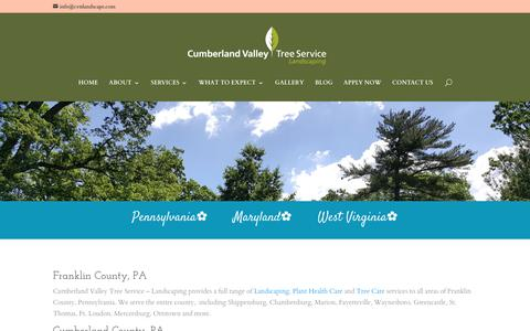 Screenshot of Locations Page cvtslandscape.com - Locations - Cumberland Valley Tree Service and Landscaping - captured Sept. 30, 2018