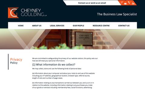Screenshot of Privacy Page cheyneygoulding.co.uk - Privacy Policy | Contact Cheyney Goulding Llp | Business Solicitors - captured Oct. 2, 2014
