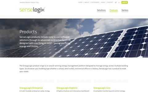 Screenshot of Products Page senselogix.com - Senselogix - EnergyLogix Energy Management Products - captured Sept. 17, 2014