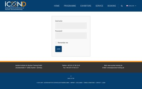 Screenshot of Login Page icond.de - Participant Login - ICOND International - captured May 28, 2016
