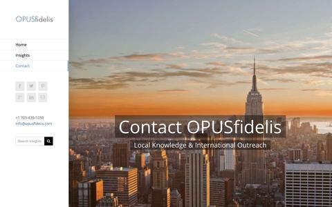 Screenshot of Contact Page opusfidelis.com - Contact - OPUSfidelis - captured Aug. 15, 2016