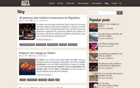 Screenshot of Blog voyageinde.fr - Article Archives - Voyage Inde - captured Oct. 29, 2018