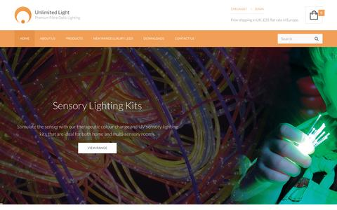 Screenshot of Home Page unlimitedlight.com - Unlimited Light - Fibre Optic and LED Lighting Kits - captured July 29, 2016