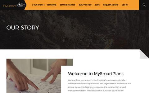 Screenshot of Home Page mysmartplans.com - Our Story | MySmartPlans Construction Project Management Software - captured Jan. 20, 2018