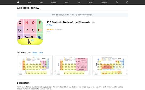 K12 Periodic Table of the Elements on the AppStore