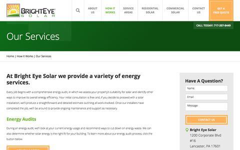 Screenshot of Services Page brighteyesolar.com - Solar Energy Services | Bright Eye Solar - captured Aug. 3, 2018