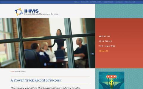 Screenshot of Case Studies Page ihmsllc.com - Case Studies - Healthcare Eligibility - IHMS - captured Feb. 11, 2016