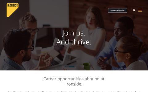 Screenshot of Jobs Page ironsidegroup.com - Careers - Ironside - Business Analytics. Data Science. Information Management. - captured Oct. 12, 2018