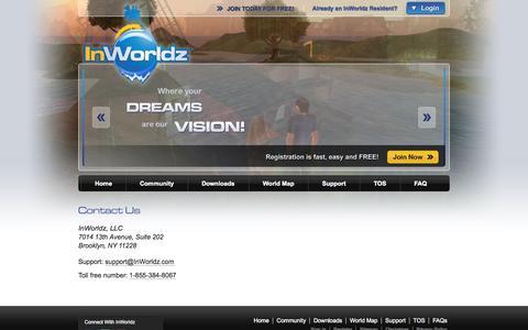 Screenshot of Contact Page inworldz.com - Welcome to the Inworldz virtual world! - captured Sept. 22, 2014