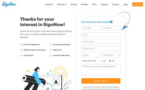 Screenshot of Contact Page signnow.com - Contact | SignNow - captured Feb. 14, 2020