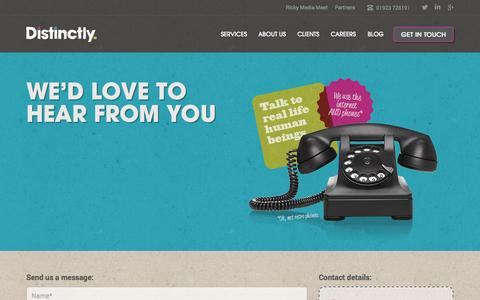 Screenshot of Contact Page distinctly.co - Get In Touch – Distinctly - captured Sept. 19, 2014