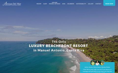 Screenshot of Home Page arenasdelmar.com - Manuel Antonio luxury beachfront hotel Arenas del Mar - captured Sept. 22, 2018