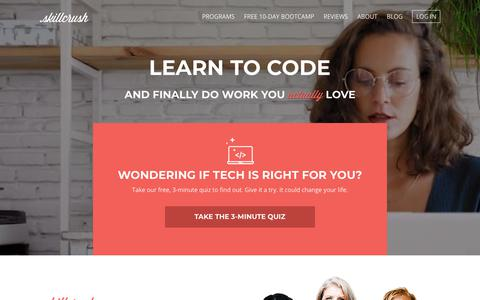 Screenshot of Home Page skillcrush.com - Skillcrush | Digital Skills are Job Skills - captured June 28, 2018