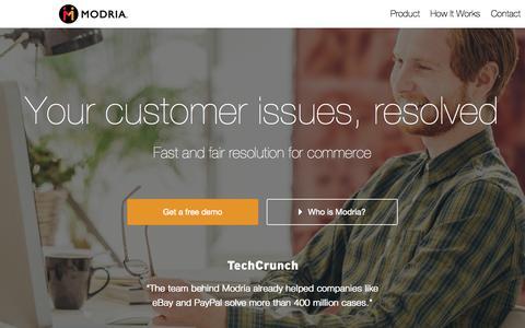 Screenshot of Home Page modria.com - Home - Modria - captured June 19, 2015