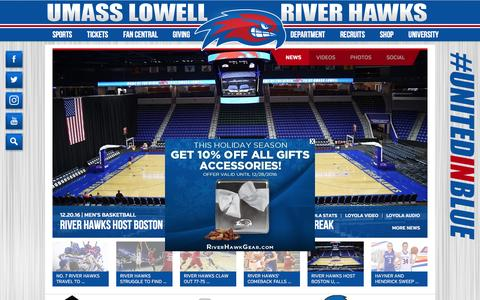 Screenshot of Home Page goriverhawks.com - UMass Lowell River Hawks Athletics - captured Dec. 28, 2016
