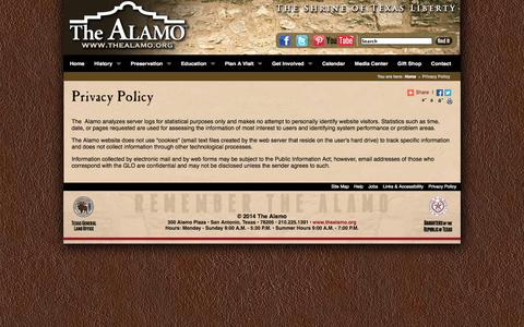Screenshot of Privacy Page thealamo.org - Privacy Policy - captured Sept. 24, 2014