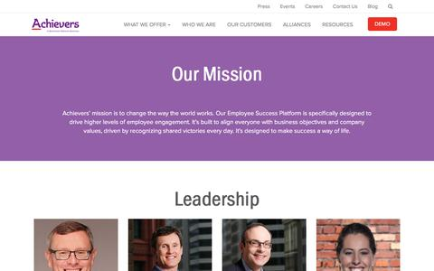 Screenshot of About Page achievers.com - Who We Are | Employee Rewards and Recognition Programs | Achievers - captured May 27, 2017