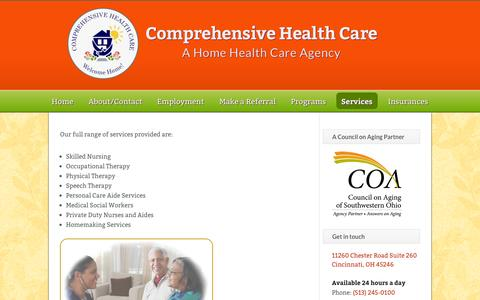 Screenshot of Services Page comphomecare.com - Services | Comprehensive Health Care - captured Oct. 1, 2014