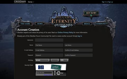 Screenshot of Signup Page obsidian.net - Pillars of Eternity - captured April 22, 2016