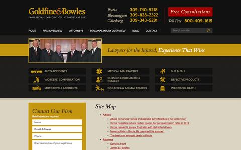 Screenshot of Site Map Page goldfineandbowles.com - Site Map | The Law Offices of Goldfine & Bowles, P.C. | Peoria, Illinois - captured Oct. 3, 2014