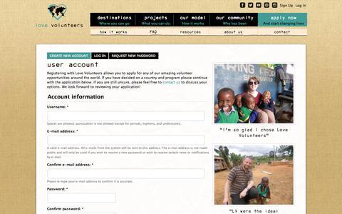 Screenshot of Signup Page lovevolunteers.org - User account | Love Volunteers - captured Sept. 30, 2014