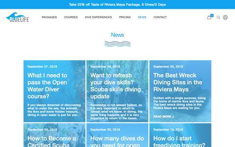 Screenshot of Press Page bluelife.com - Blog & news | Blue Life - Pro Diving Instructors - captured Oct. 6, 2018