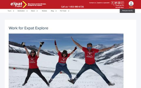 Screenshot of Jobs Page expatexplore.com - Travel Jobs - Work for Us - Careers at Expat Explore Travel - captured Sept. 27, 2018