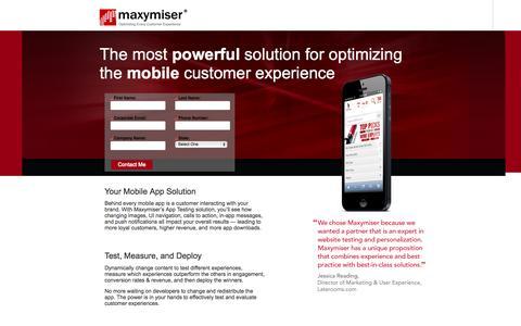 Screenshot of Landing Page maxymiser.com captured Oct. 27, 2014
