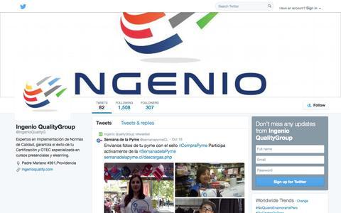 Screenshot of Twitter Page twitter.com - Ingenio QualityGroup (@IngenioQualityG) | Twitter - captured Oct. 23, 2014