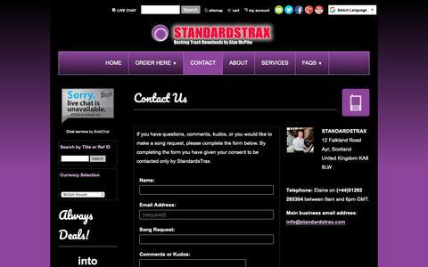 Screenshot of Contact Page standardstrax.com - Contact Us | Standards Trax - captured Nov. 8, 2018