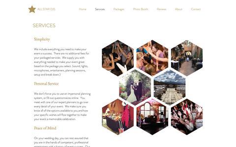 Screenshot of Services Page allstardjsco.com - Services | Wedding Reception  | Ceremony | All Star DJs - captured Oct. 3, 2018
