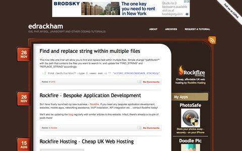 Screenshot of Home Page edrackham.com - Ed Rackham - Web Application Developer - captured Sept. 23, 2014
