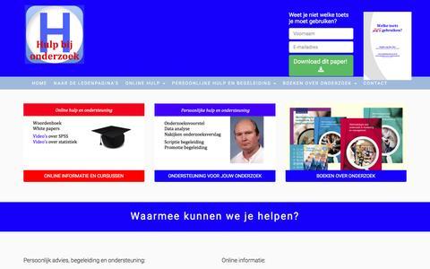 Screenshot of Home Page hulpbijonderzoek.nl - Hulp bij Onderzoek - captured July 18, 2016