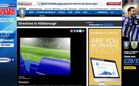 Screenshot of Maps & Directions Page swfc.co.uk - Directions to Hillsborough - captured Jan. 27, 2016