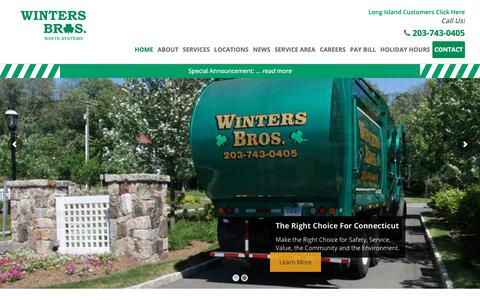 Screenshot of Home Page wintersbrosct.com - Winters Bros. Waste Systems - Trash Service Company CT - captured Oct. 19, 2018