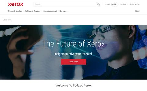 Screenshot of About Page xerox.ca - About Xerox: Document Management - captured July 29, 2019