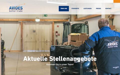 Screenshot of Jobs Page avides.com - Aktuelle Stellenangebote bei AVIDES Media AG - captured Jan. 21, 2016