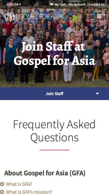 Screenshot of FAQ Page  gfa.org - FAQs about Gospel for Asia - Gospel for Asia