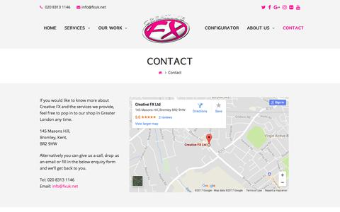 Screenshot of Contact Page fxuk.net - Contact – Creative FX - captured July 9, 2017